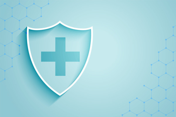healthcare medical shield background with text space